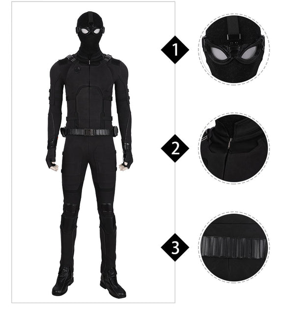 Spiderman stealth suit Spiderman Far From Home replica black suit