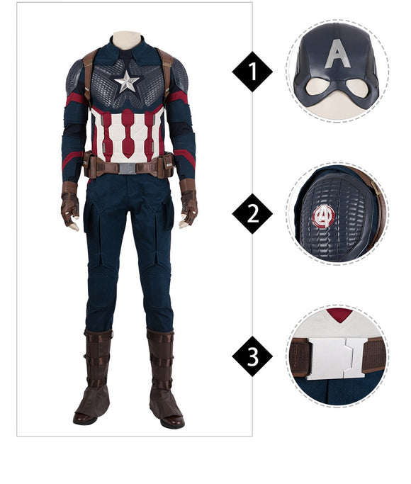 Captain America Steve Rogers Cosplay Costume Avengers 4 Endgame customizable replica outfit