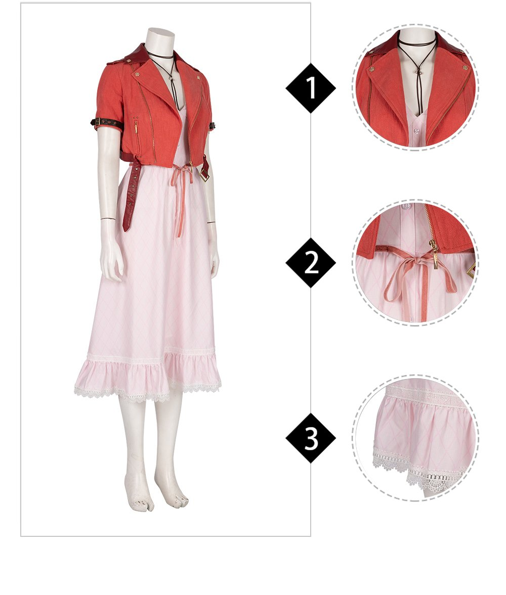Final Fantasy VII Aerith Cosplay Costume Gainsborough Costume Halloween Outfit