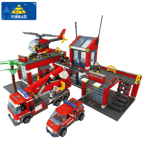 Building Blocks Fire Station Model Blocks Compatible Lego City Bricks Block