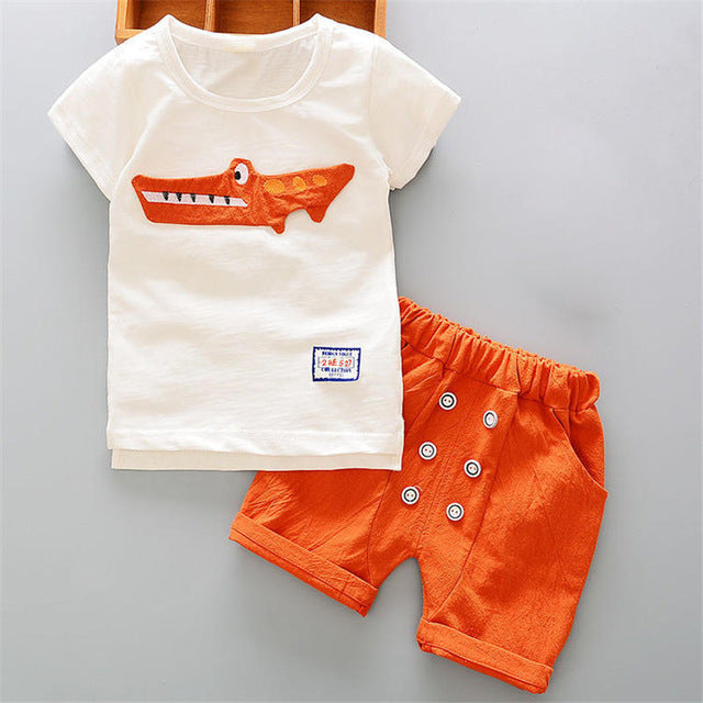 8860c58f3 BibiCola Babies Clothing Set Newborn Boys white cartoon Shirt+Shorts ...