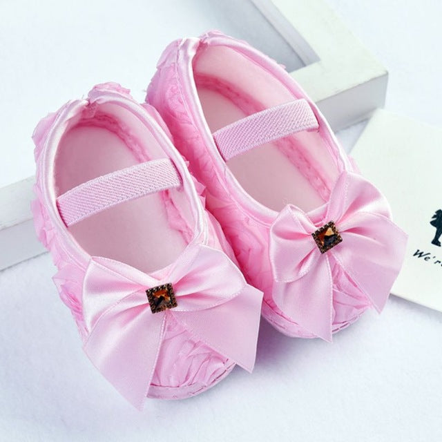 847b2bc43e6e Baby Girl Shoes First Walkers Todder Prewalker Shoes Rose Flowers Bow  Princess Newborn Baby Soft Sole