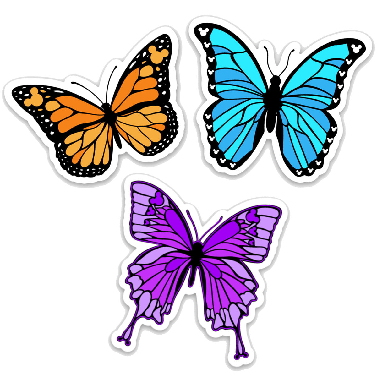 3 Pack Butterfly Themed Decals