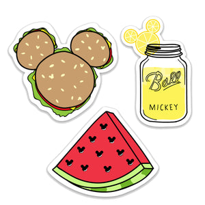 3 Pack Summer Snacks Themed Decals