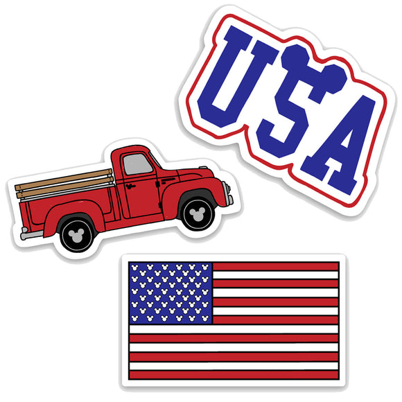 3 Pack Americana Themed Decals