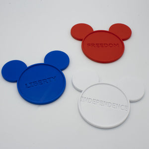 Red-White-Blue Independence Day Coasters with Character (3pc set) - Drink Coasters