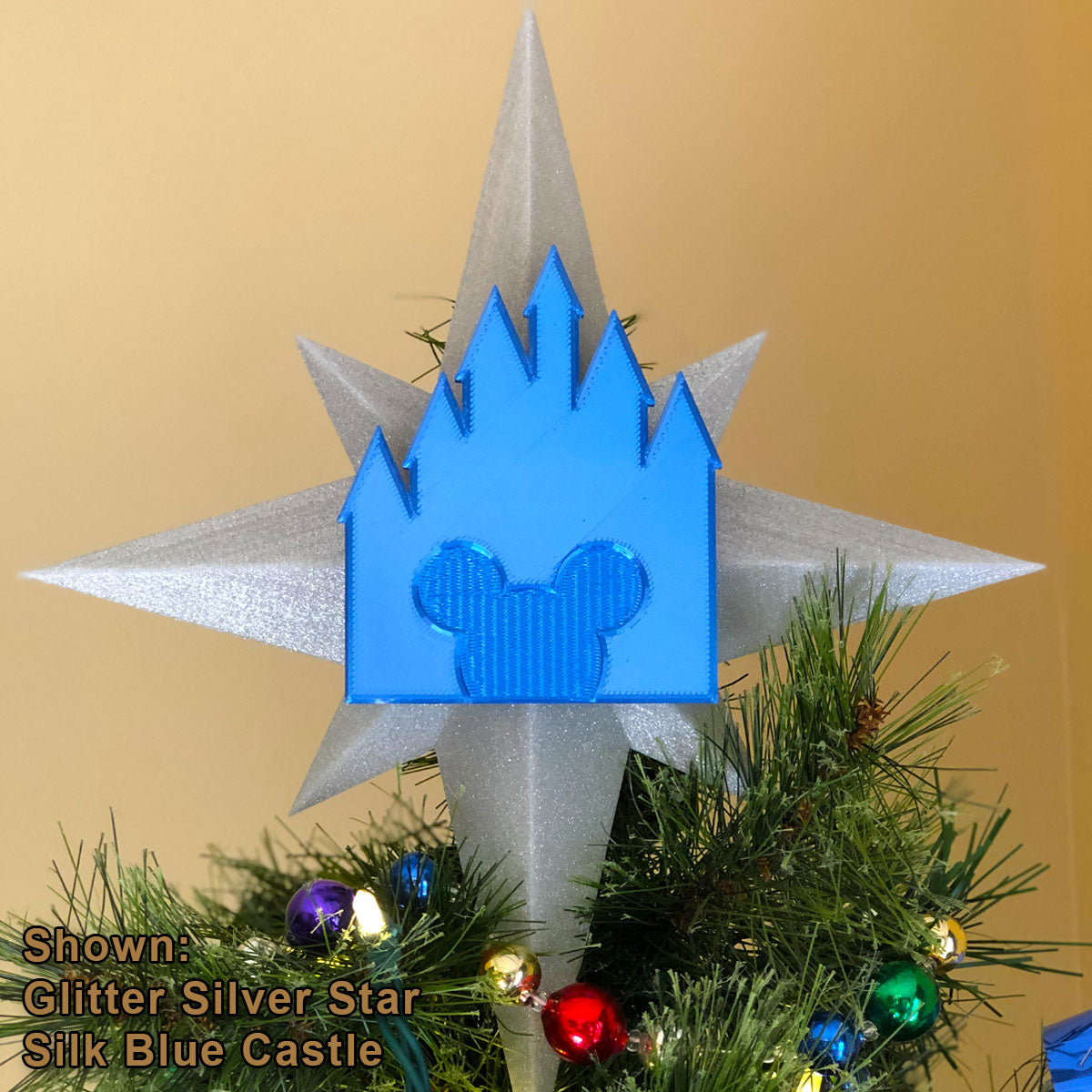 Custom Color Christmas Tree Topper - Star with Castle (FREE SHIPPING)