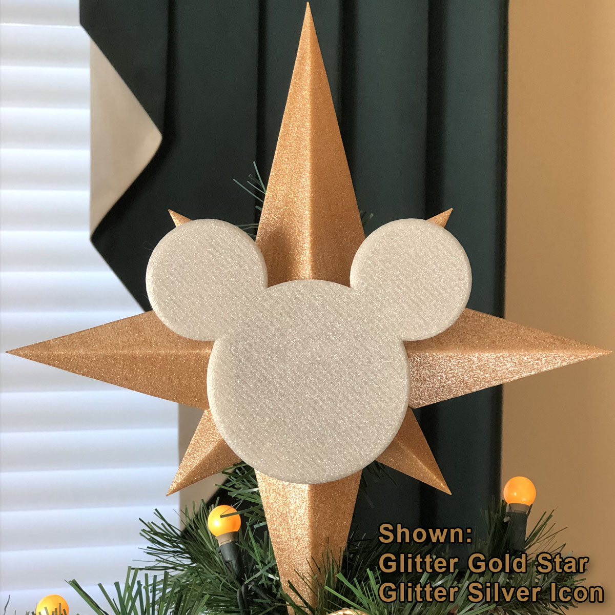 Custom Color Christmas Tree Topper - Star with Icon (FREE SHIPPING)