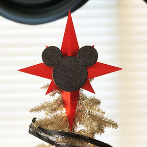 Glitter Red Star with Glitter Black Icon Christmas Tree Topper
