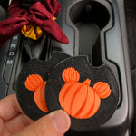 Load image into Gallery viewer, Pumpkin Mouse Car Coasters - Set of 2