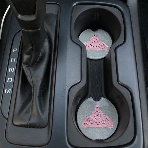 Princess Tiara Car Coasters - Set of 2