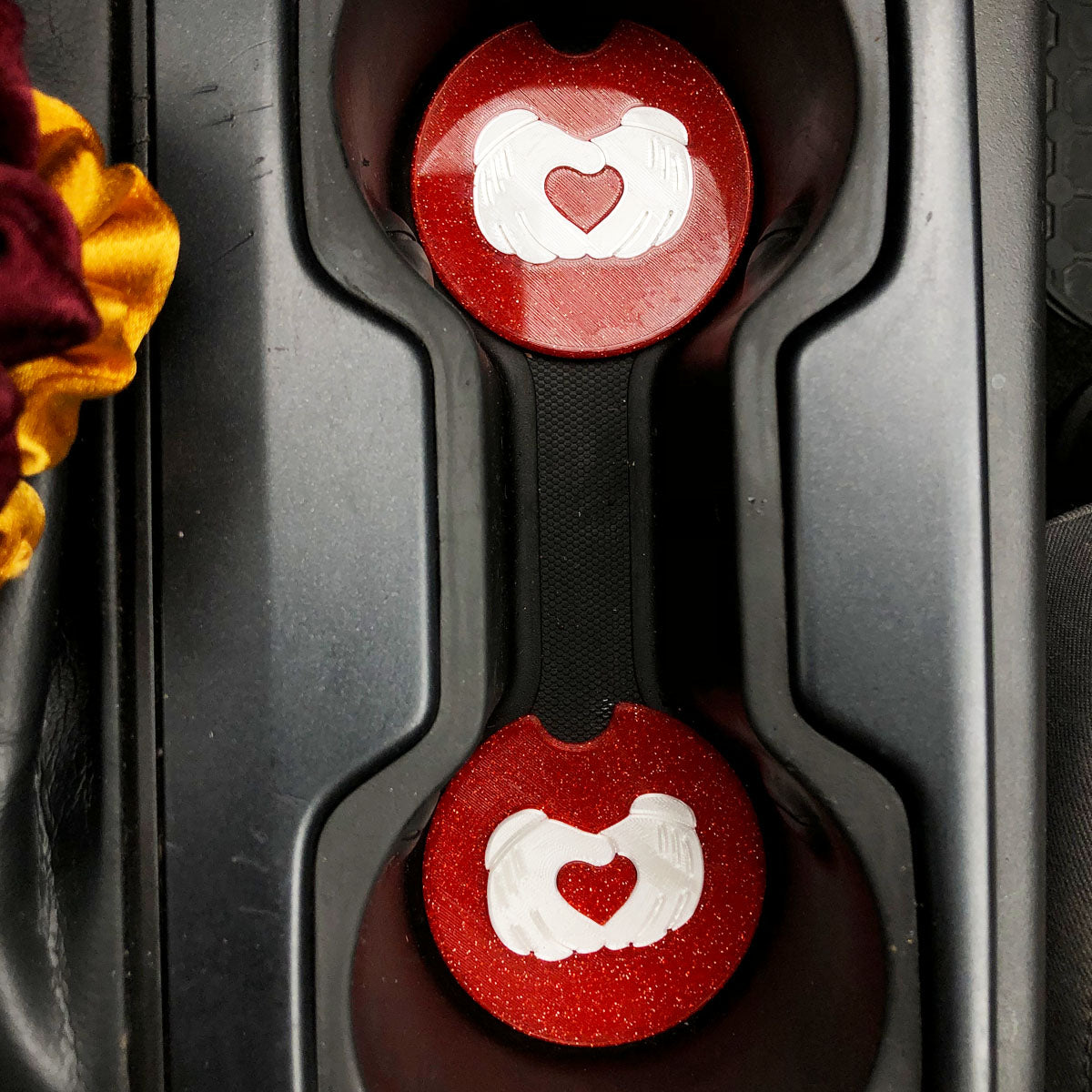 Hand Heart Car Coasters - Set of 2