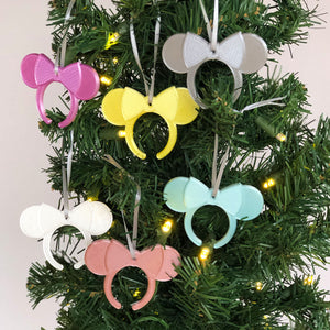 Pastel Tone Headbands Christmas Ornament 6 Piece Set