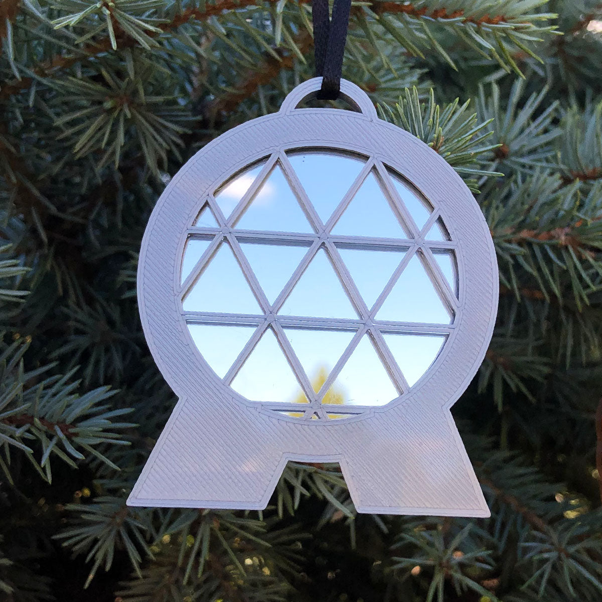 Mirror Spaceship Earth Christmas Ornament