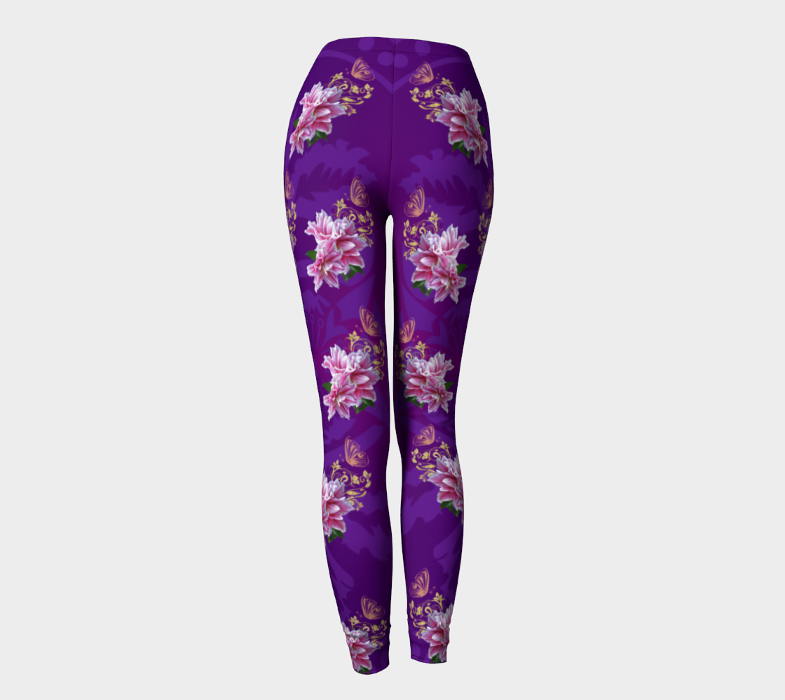 Purple Pink Lily Tarot Leggings