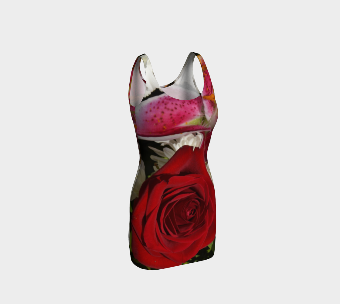 Red Rose Bouquet Bodycon Dress