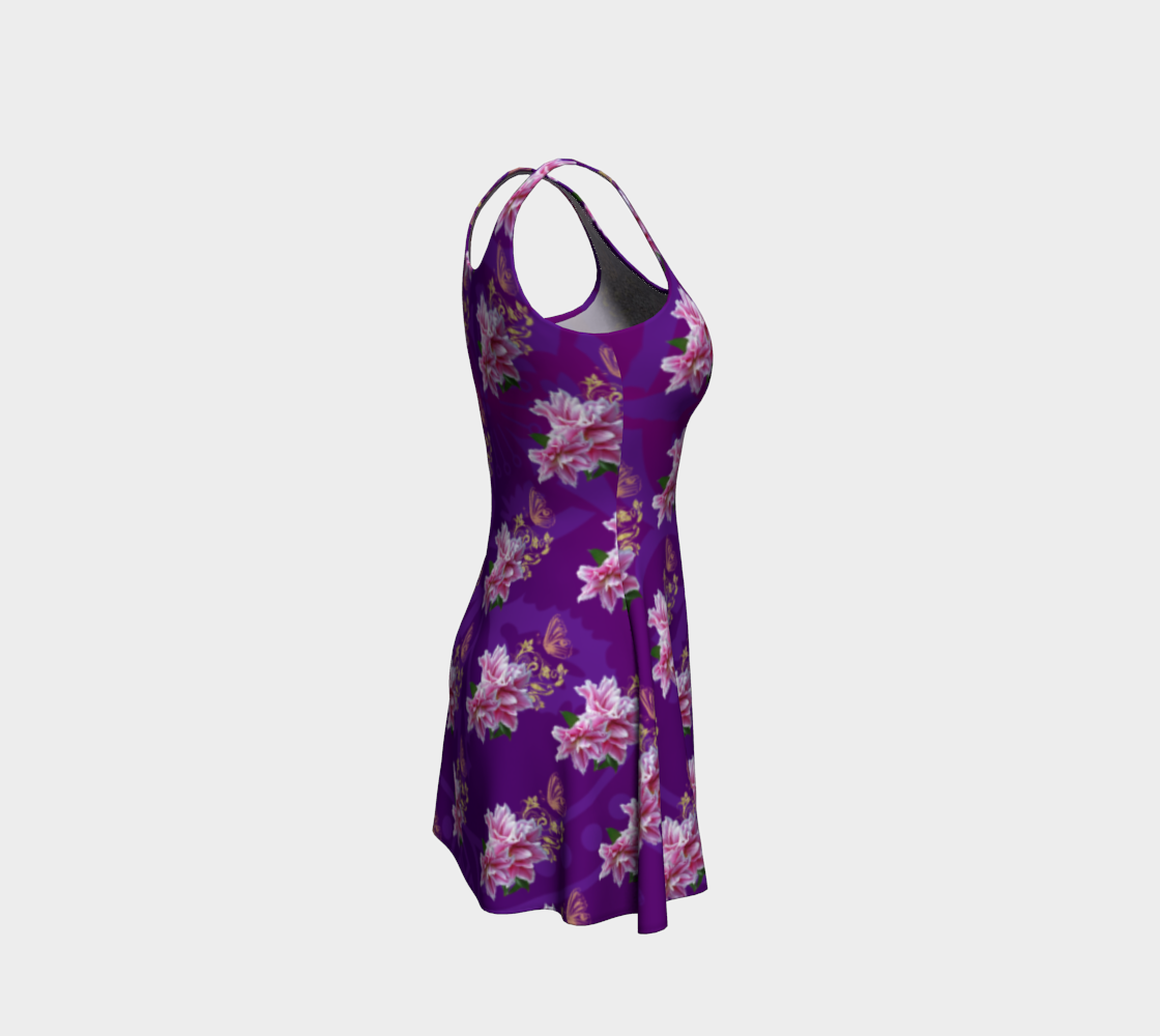 Purple Pink Lily Tarot Flare Dress