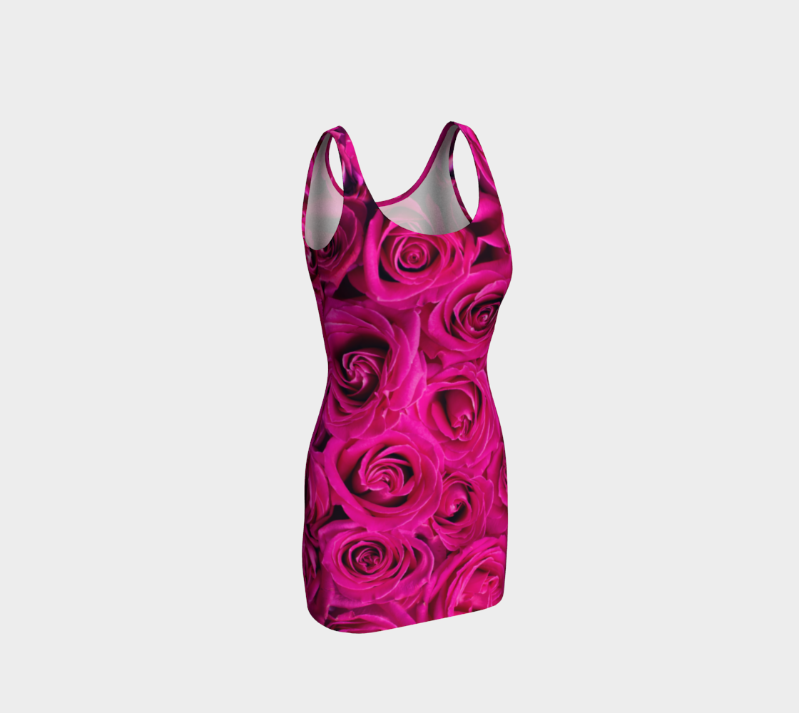 Hot Pink Roses Bodycon Dress