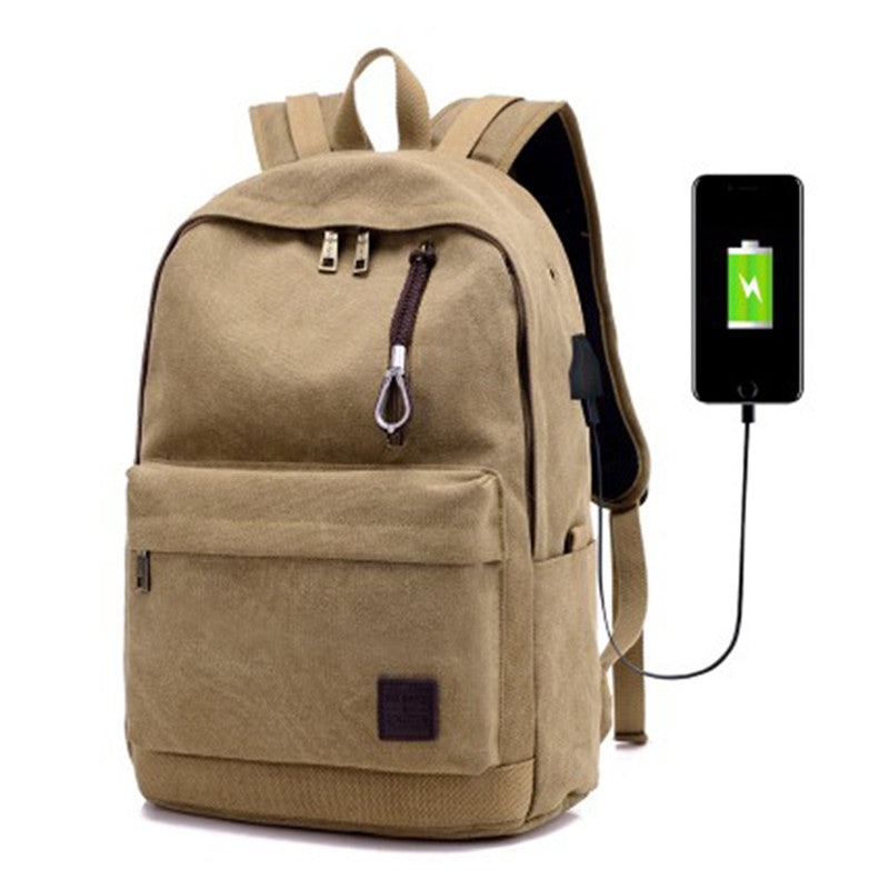 Canvas Hipster Anti-Theft Backpack with USB