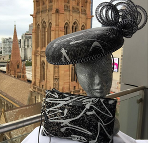 "Possum Ball Millinery ""Chic"" featuring Mimih Spirits by Aboriginal artist Gabriel Mulangurra Injalak arts"