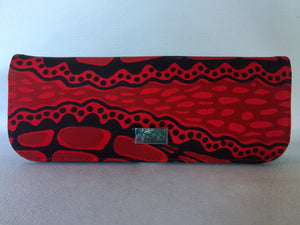 Ebony clutch  featuring crocodile by Aboriginal artist Aaron McTaggart, Merrepen Arts