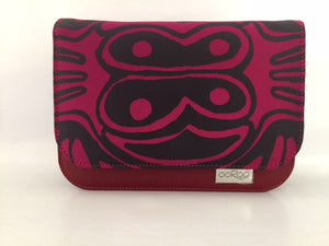 Meg cross body Handbag/ small Clutch in red leather featuring Burial Ground by artist Jock Puautjimi, Tiwi Designs (Sample Stock)