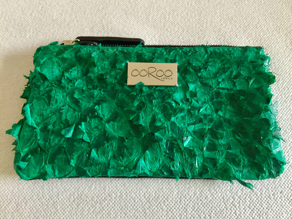 Lilly Purse featuring light green ruffled barramundi leather