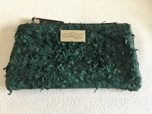Lilly Purse featuring dark green ruffled barramundi leather