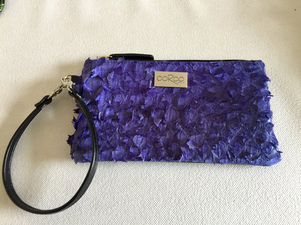 Ella Purse  featuring violet ruffled barramundi leather