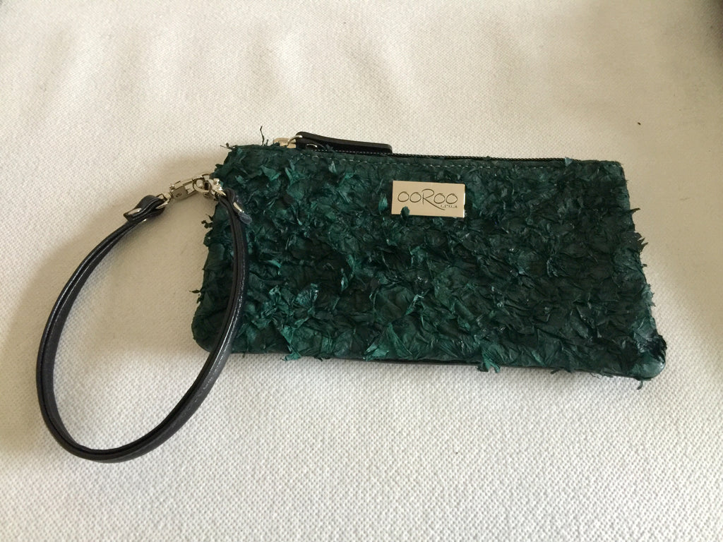 Ella Purse  featuring dark green ruffled barramundi leather