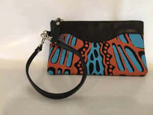 Ella purse featuring Crocodile Skin Aboriginal by artist Aaron McTaggart, Merrepen Arts