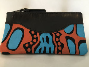 Lily Purse in black leather featuring Crocodile Skin by artist Aaron McTaggart, Merrepen Arts
