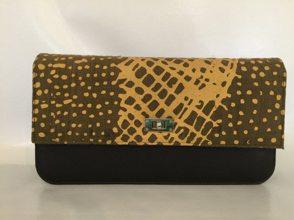 Georgia Clutch featuring Jilmara Body Paint by Aboriginal artist Jean Baptiste Apuatimi, Tiwi Designs