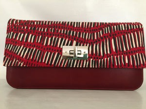 Georgia Clutch in red leather  featuring Fish Trap by artist Kieren (Karritpul) McTaggart, Merrepen Arts