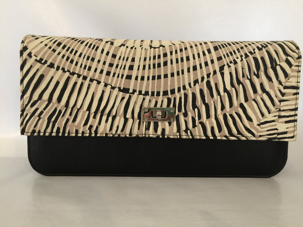 Georgia Clutch in black leather featuring Fog Dreaming by artist Marita Sambono, Merrepen Arts