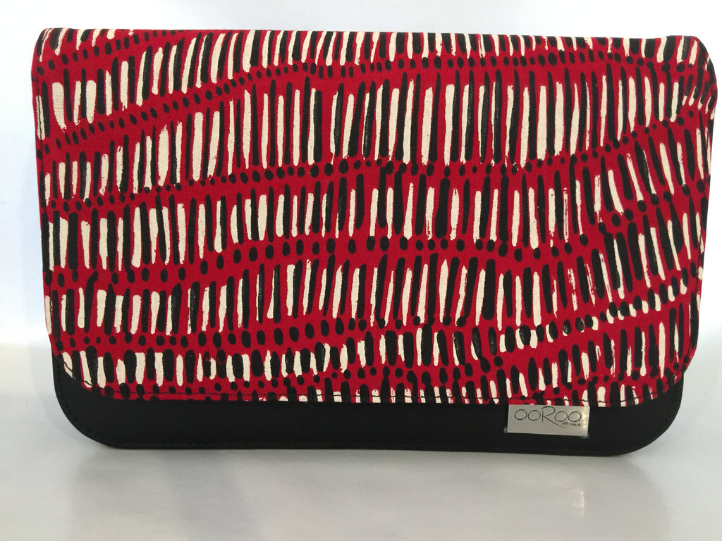 Meg cross body Handbag/ small Clutch in black leather featuring Fish Trap by artist Kieren (Karritpul) McTaggart, Merrepen Arts