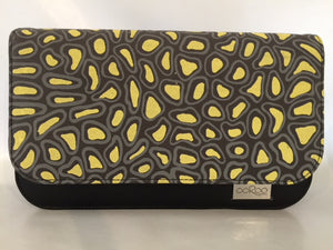 Meg cross body Handbag/ small Clutch in black leather featuring Crocodile Skin by artist Aaron McTaggart, Merrepen Arts