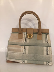 Magnolia Handbag in brown leather featuring Louvres by Australian textile artist Bobbie Ruben