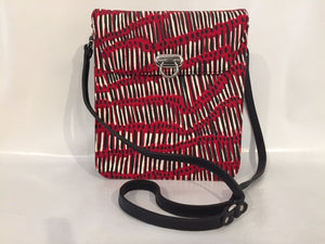 Tess Handbag in black leather featuring Fish Trap by Kieren (Karritpul) McTaggart, Merrepen Arts (Sample Stock)
