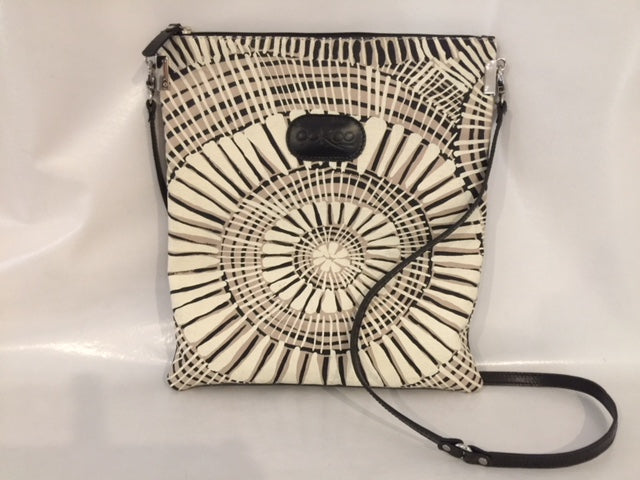 Mia Rose Handbag in black leather featuring Fog Dreaming by artist Marita Sambono, Merrepen Arts