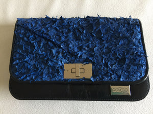 Meg cross body Handbag/ small Clutch  in french navy blue leather featuring blue ruffled barramundi leather