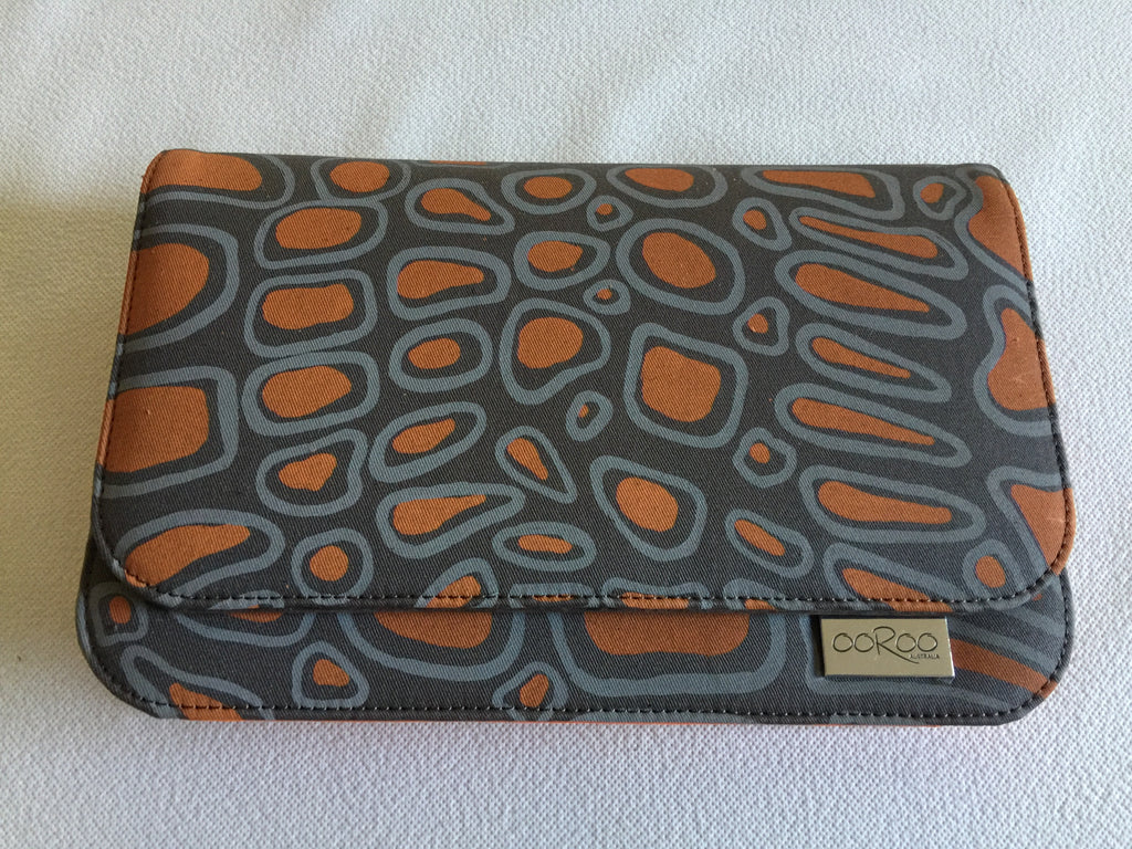 Meg Handbag/ small Clutch featuring Crocodile  by Aboriginal artist Aaron Mctaggart, Merrepen Arts