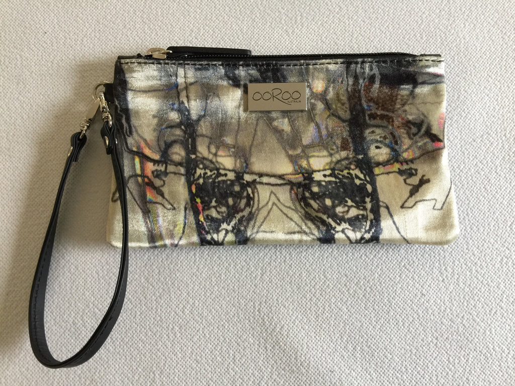 Ella purse in black leather featuring Electric Collage by artist Anna Reynolds