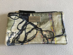 Lilly Purse in black leather featuring Electric Collage by artist Anna Reynolds