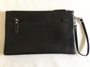 Zara Purse/Clutch in black leather featuring Crocodile Skin by artist Aaron McTaggart, Merrepen Arts