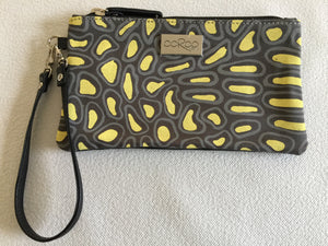 Ella Purse in black leather featuring Crocodile Skin by artist Aaron McTaggart, Merrepen Arts