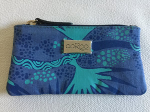 Lily Purse in blue leather featuring Merrepen by artist Gracie Kumbi, Merrepen Arts
