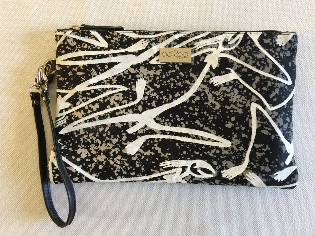 Zara Purse/Clutch in black leather featuring Mimih Spirits by artist Gabriel Maralngurra, Injalak Arts