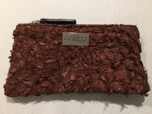 Lilly Purse featuring chestnut ruffled barramundi leather