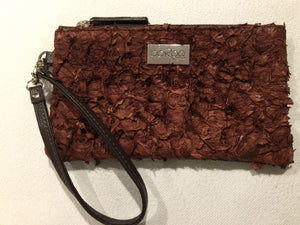 Ella Purse  featuring chestnut ruffled barramundi leather